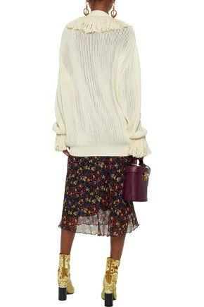 CHRISTOPHER KANE Fringe-trimmed open-knit cotton cardigan