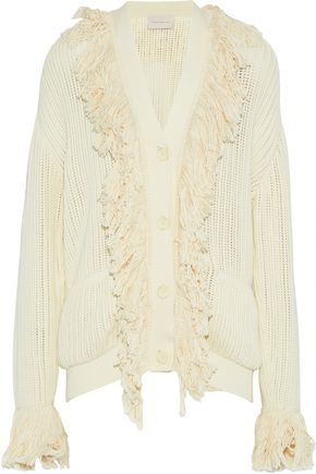 CHRISTOPHER KANE Fringe-trimmed open-knit cotton cardigan