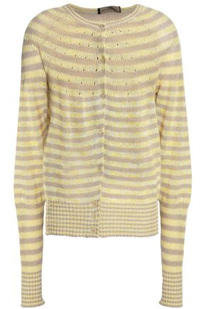 PIAZZA SEMPIONE Striped linen and cotton-blend cardigan