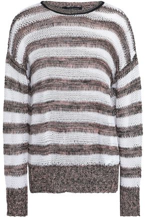 PIAZZA SEMPIONE Striped open-knit linen and cotton-blend sweater