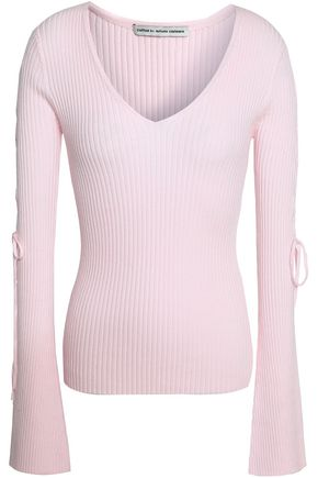 AUTUMN CASHMERE Lace-up ribbed cotton-blend sweater