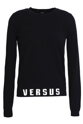 VERSUS VERSACE Jacquard knit-trimmed stretch-knit sweater