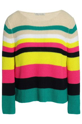 AUTUMN CASHMERE Striped ribbed-knit cotton sweater
