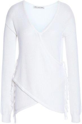 AUTUMN CASHMERE Wrap-effect fringe-trimmed cotton sweater