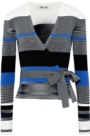 DIANE VON FURSTENBERG Striped ribbed-knit wrap top
