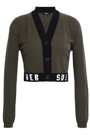 VERSUS VERSACE Cropped jacquard knit-trimmed stretch-knit cardigan