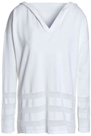 AUTUMN CASHMERE Paneled cotton hooded top