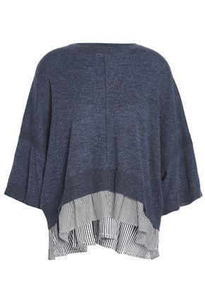 AUTUMN CASHMERE Paneled cashmere and striped poplin-top