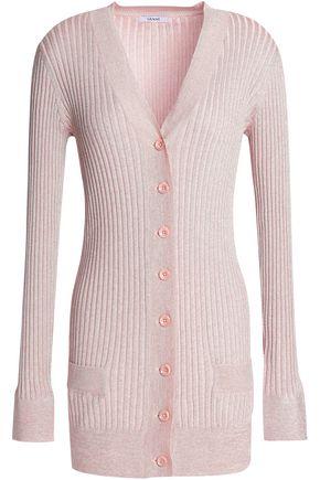 GANNI Metallic ribbed-knit cardigan