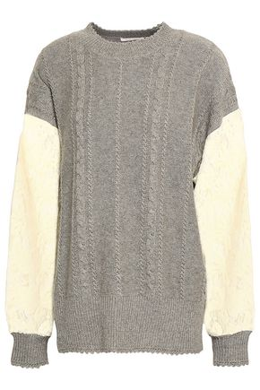 SEE BY CHLOÉ Lace-paneled cable-knit sweater