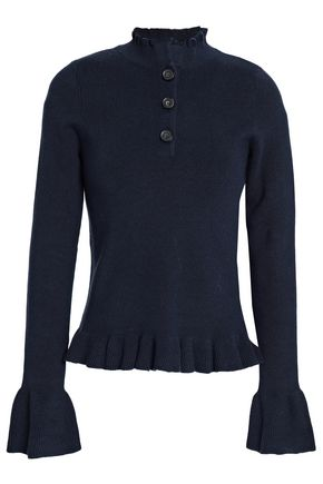 SEE BY CHLOÉ Ruffle-trimmed ribbed cotton-blend sweater