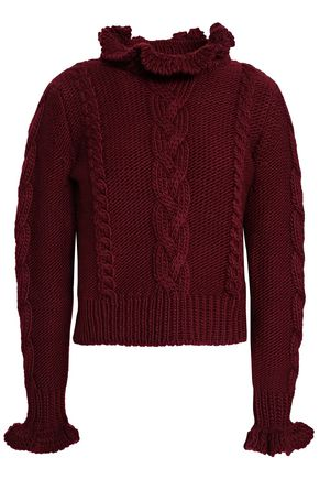 SEE BY CHLOÉ Ruffle-trimmed cable-knit wool sweater