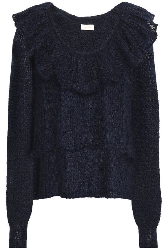 Mohair Ruffled blend Chloé By knit Sweater Pointelle See Navy