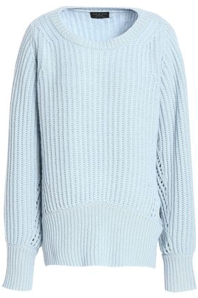 RAG & BONE Open knit-trimmed ribbed cashmere sweater
