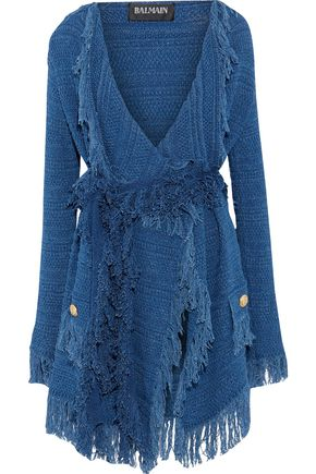 BALMAIN Fringe-trimmed crochet-knit cotton cardigan