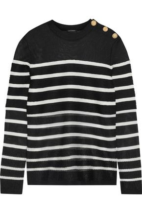 BALMAIN Button-detailed striped open-knit sweater