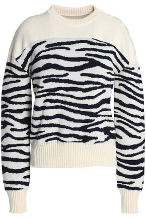 MM6 MAISON MARGIELA Zebra-print jacquard-knit wool sweater