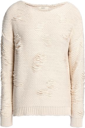 BA&SH Distressed cotton-jacquard sweater