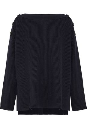 GREY JASON WU Oversized button-detailed ribbed wool sweater