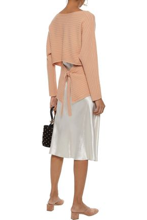 VINCE. Cutout tie-back ribbed wool and cashmere-blend sweater