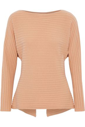 VINCE. Tie-back ribbed wool and cashmere-blend sweater