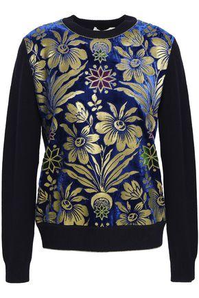 TORY BURCH Paneled velvet-jacquard sweater