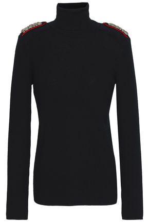 TORY BURCH Embellished ribbed merino wool turtleneck sweater