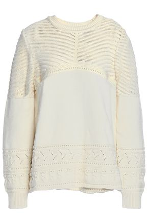 BA&SH Pointelle-knit cotton sweater
