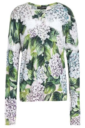 DOLCE & GABBANA Printed cashmere, silk and cotton-blend sweater