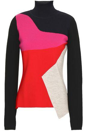 DIANE VON FURSTENBERG Color-block wool-blend turtleneck sweater