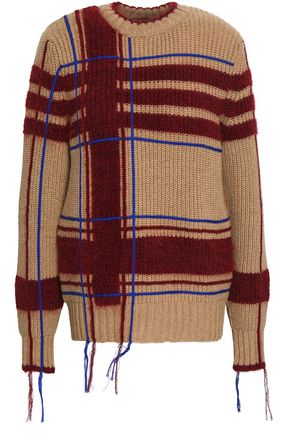 TORY BURCH Fringe-trimmed intarsia-knit sweater