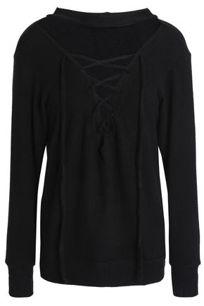 LNA Lace-up Tencel-blend top