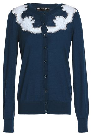 DOLCE & GABBANA Lace-trimmed cashmere-blend cardigan