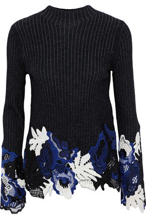 3.1 PHILLIP LIM Lace-paneled metallic ribbed wool-blend sweater