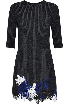 3.1 PHILLIP LIM Guipure lace and ribbed wool-blend mini dress