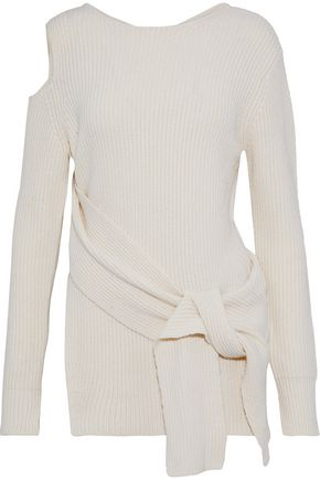 3.1 PHILLIP LIM Cutout tie-front ribbed wool and yak-blend sweater