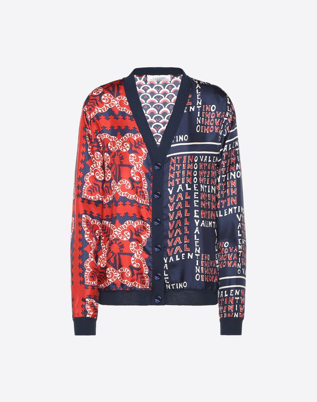 Printed Twill and Wool Cardigan