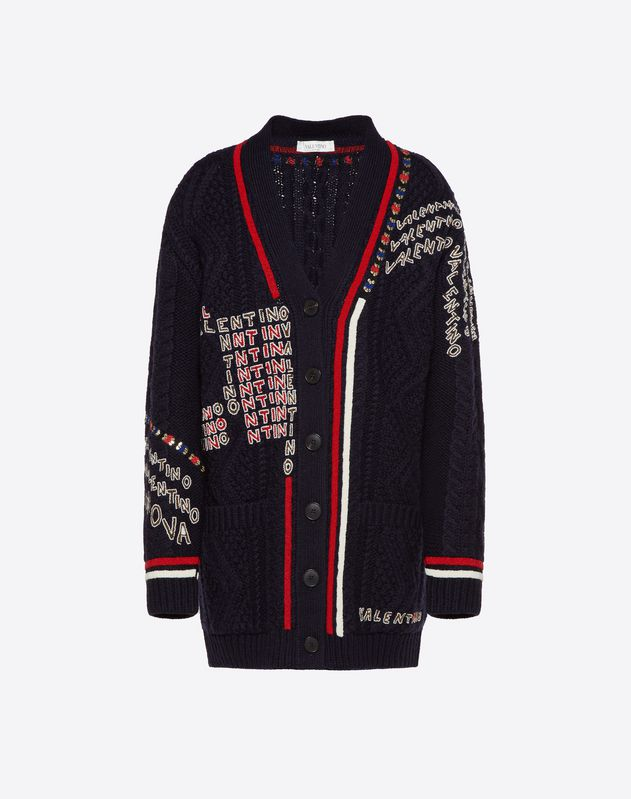 Valentino Chevron and Valentino Puzzle Embroidered Wool Sweater