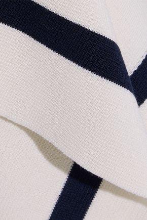 OSCAR DE LA RENTA Asymmetric button-detailed silk and cotton-blend sweater