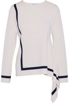 OSCAR DE LA RENTA Asymmetric button-detailed silk and cotton-blend sweater