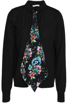 CHRISTOPHER KANE Crystal-embellished floral-print appliquéd wool cardigan