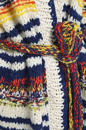 PRINGLE OF SCOTLAND Intarsia linen, silk and cotton-blend cardigan
