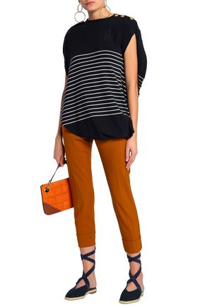 J.W.ANDERSON Draped embroidered striped merino wool top