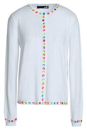 LOVE MOSCHINO Embellished stretch-knit cotton-blend cardigan