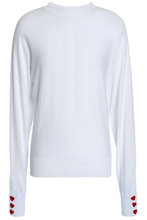 LOVE MOSCHINO Embellished stretch-knit cotton-blend top