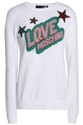 LOVE MOSCHINO Sequined intarsia-knit cotton-blend top