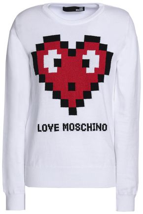 LOVE MOSCHINO Intarsia-knit cotton-blend top