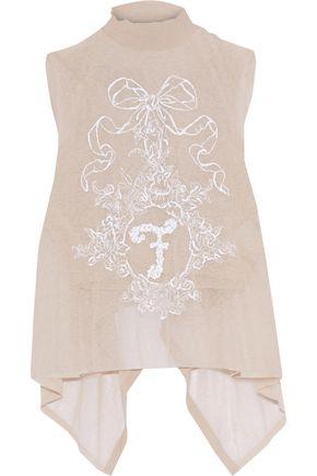 FENDI Tie-back draped embellished open-knit top