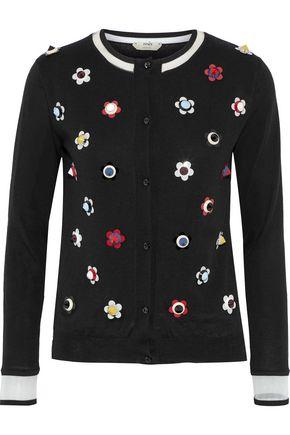 FENDI Embellished cashmere and silk-blend cardigan