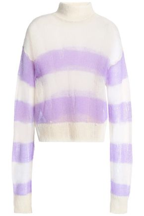 McQ Alexander McQueen Distressed striped open-knit mohair wool-blend sweater
